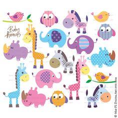 Safari Jungle Animal Clip Art Baby Zoo Animals por MayPLDigitalArt