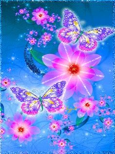 Mariposas y flores de colores vivos Butterfly Pictures, Butterfly Flowers, Beautiful Butterflies, Butterfly Wallpaper, Love Wallpaper, Wallpaper Backgrounds, Les Gifs, Glitter Graphics, Cellphone Wallpaper