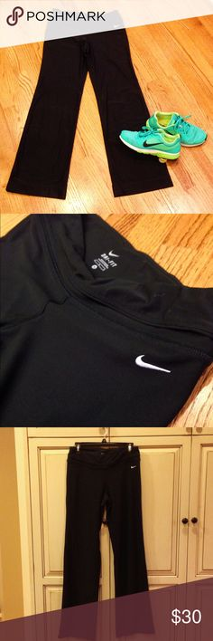 Nike Yoga Pants Black Nike Dri-Fit Yoga pants. 88% Polyester, 12% Spandex. Runs large. You'll fit in at any yoga class or just for on the run! Nike Pants Track Pants & Joggers