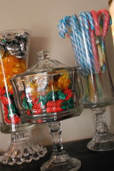 Fun vases and candy dishes from thrift store and DT finds