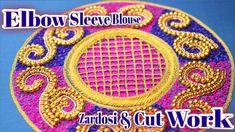 Elbow sleeve blouse work using Zardosi & cut work in Aari Embroidery   N...