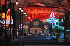 Cars Land Disney California Adventure at night