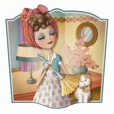 Dusting the cat, illustration, Nina de San Decoupage, Art Fantaisiste, Art Mignon, Creation Photo, Holly Hobbie, Marquis, Whimsical Art, Cute Illustration, Cat Art