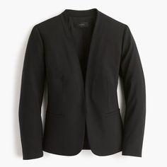 Collarless blazer in Italian stretch wool