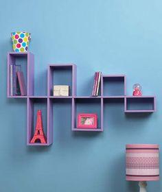 Purple Modular Wall Shelf Unit for Photo's and DVD's CD's Home Teen Room Decor