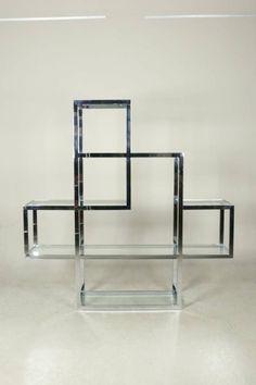 1970's Asymmetrical Chrome Room Divider/ Etagere image 2