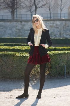 Velvet skirt, white button down, tights, and blazer.