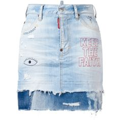 Dsquared2 - embroidered distressed denim skirt (9.125 ARS) ❤ liked on Polyvore featuring skirts, mini skirts, button skirt, short skirts, zip skirt, zipper skirt and distressed denim mini skirt