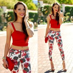 Bebe Red Floral Denim, Windsor Store Red Crop Top, Hello Beautiful White Bangle, Daily Look Red Clutch