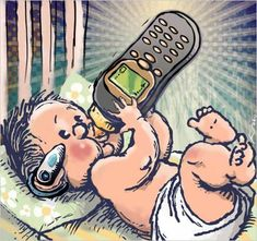Illustrations That Take a Tongue-in-cheek Look at Technology Addiction in Today's Society Satire, Contexto Social, Social Issues, Some Pictures, Funny Pictures, Cell Phone Addiction, Technology Addiction, Satirical Illustrations, Smartphone