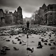 Makes you wonder who all of these shoes belonged to... just left behind...