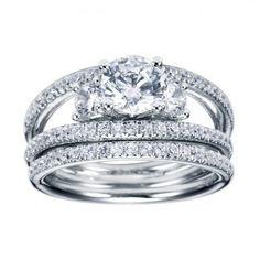 Engagement Rings : Split Shank, Three Stone Pave Set Diamond Engagement Ring Setting