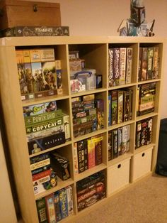 - Ikea DIY - The best IKEA hacks all in one place Board Game Shelf, Board Game Storage, Board Games, Board Game Organization, Ikea Organization, Organizing, Ikea Shelves, Storage Shelves, Storage Ideas