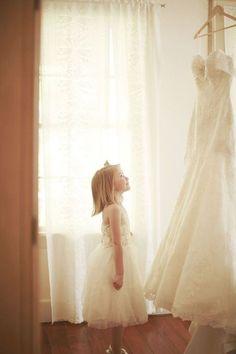 Beautiful Wedding Gown Photo with Little Girl - Wedding Inspiration | Wedding Photography