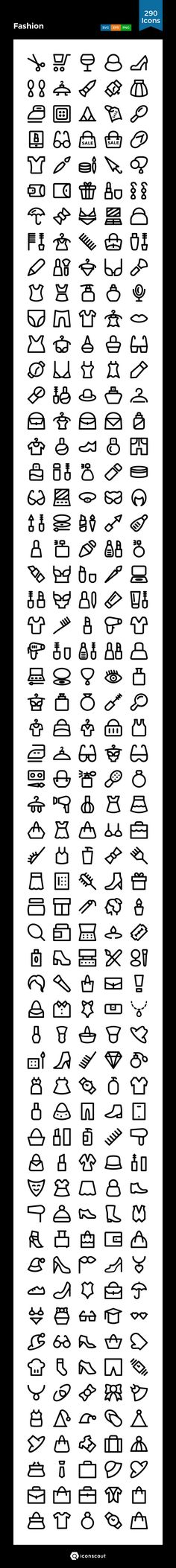 Fashion   Icon Pack - 290 Line Icons