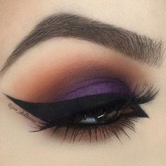 Smokey Purple & Brown Eye Makeup With Winged Eyeliner & Long Lashes