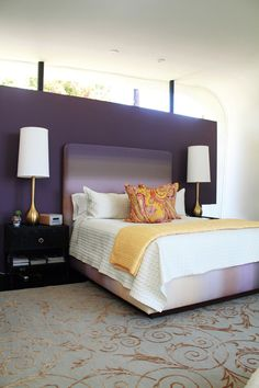Modern Purple Bedroom.  love the dyed fabric.  I kinda love those vintage lamps too....for tnt i just like the symmetry