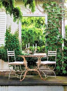 romantic outdoor garden with mirror                                                                                                                                                      More