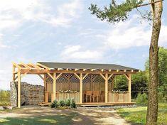 Pergola din lemn cu acoperis si pereti Pergola, Gazebo, Cabana Decor, Covered Decks, Backyard, Patio, Garden Plants, Outdoor Spaces, Outdoor Gardens