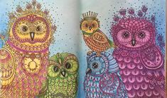 """This one took me forever but I love it! :) My husband named it """"The radioactive alien owls"""" 😂😂 Coloring Tips, Adult Coloring, Coloring Books, Coloring Pages, Joanna Basford, Colored Pencil Tutorial, Fairytale Art, Lisa Marie, Adulting"""