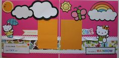 Hello Kitty 12x12 Two Page Premade Scrapbook Layout Rainbow. $12.00, via Etsy.