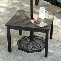 Outdoor Eucalyptus Wood Side End Table W/umbrella Hole Patio Deck Pool Furniture