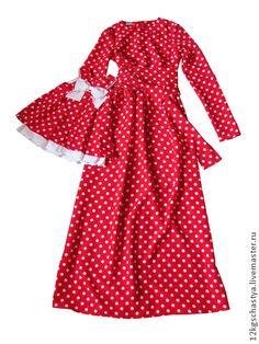 Платье для мамы и дочки в одном стиле - ярко-красный,в горошек,платье длинное