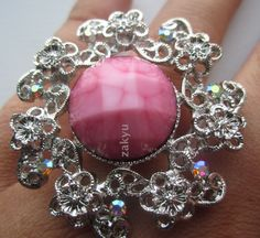 Large Ring Pretty Adjustable 6 7 8 9 Jewelry Elegant Cocktail Pink Gems Flower