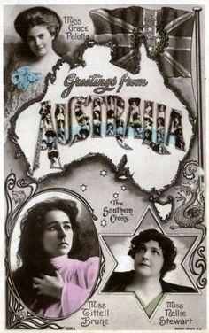 Australian postcard of Victorian/Edwardian actresses. Austrian, Grace Palotta toured Australia five times between 1895 and American, Minnie Tittle Brune toured and Australian born, Nellie Stewart was a local favourite. Australian Vintage, Research Images, Glitter Photo, Stewart, Modern Pictures, Edwardian Era, National Museum, Vintage Postcards, Photo Cards