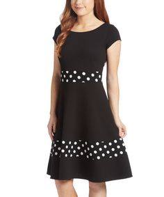 Another great find on #zulily! Black Polka Dot Fit & Flare Dress - Plus Too #zulilyfinds