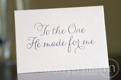 Wedding Card to Your Bride or Groom - To the One He Made for Me - Christian, Religious Wedding Card on Etsy, $4.00
