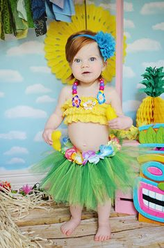 Hawaiian TUTU ONLY luau party photo prop baby by BowPeepsAndMore, $40.00