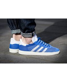 online retailer fe2b4 d5e82 Adidas Gazelle Primeknit Blue White Trainers