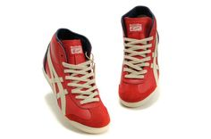 2013 Online Asics Onitsuka Tiger MEXICO 66 High Womens Shoes Red Grey Blue