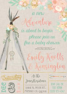 Boho Dreamcatcher Teepee Baby Shower Invitation Invite Invitations Invites Rustic Watercolor Flowers Tribal Princess