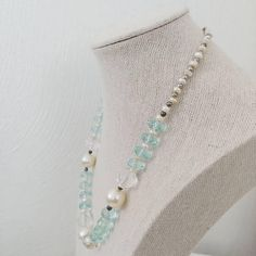 Glass and Faux Pearl Beaded Necklace Light Blue White Clear Single Strand Spring Winter Colors Elegant Simple Feminine