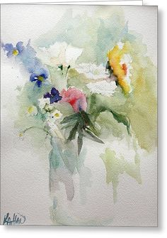 Vase Of Flowers Greeting Card by Kathleen Hartman