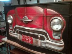 6' Black Buffet with 54 Oldsmobile Painting and Parts - JUNKMARKET Style