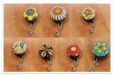 Flower Fabric Buttons & Retractable ID Badge Holder Reels by Beachcollars on Etsy  #beachncollars #beachcollars #lanyard #keychain #keyfob #wristlets