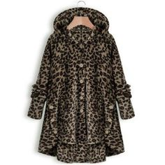 Autumn and Winter Casual Outwear Tops Solid Color Plush Hoodies Long Sleeve Hooded Coat Women Loose Warm Fur Cardigan Coat with Pocket Shaggy Jacket Long Coat Plus Size Leopard Coat, Brown Leopard, Mode Mantel, Coats For Women, Clothes For Women, Fluffy Coat, Jacket Buttons, Fur Jacket, Hooded Jacket