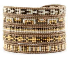 Gold Mix Sectioned Wrap Bracelet on Henna Leather