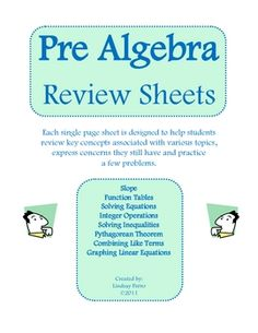 pre algebra review sheets ..free download
