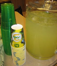 Green cups with lemonade