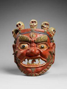 Masque de déité terrible pour danse rituelle (cham). Tibet fin 19 ème. Carton moulé et peint.
