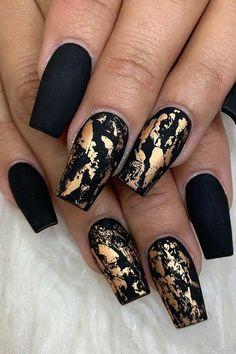 Black and gold marble nails #blacknails #marblenaildesign - Black And Gold Nails - #Black #blacknails #Gold #marble #marblenaildesign #Nails #NailArt #NailArtDesigns #NailPolish #GoldLeafNailArt #NailArtInspiration Black Gold Nails, Gold Nail Art, Black Nail Art, Cute Acrylic Nails, Matte Nails, Blue Nail, Shellac Nails, Black Wedding Nails, Pink Shellac