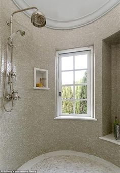 Plus a window! The massive round shower room is large enough for the family-of-three to ba...