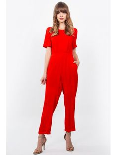 Red short sleeve jumpsuit