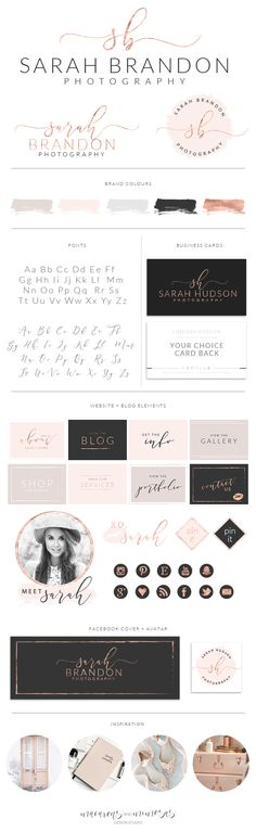 Rose gold initial script logo, premade website kit, blush pink circle logo submark, Blog and website signature, rose gold social icons, custom website pin buttons