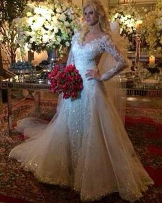 Sparkly Long Sleeve Wedding Dress Sexy V Neck Bridal Gowns 2016 vestidos de novia Court Train Wedding Gowns Lace Saudi Arabic(China (Mainland))