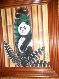 Panda Bear with Bamboo background